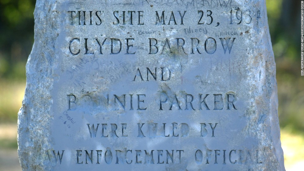 In Gibsland, Louisiana, a monument stands at the site of the ambush that killed Bonnie and Clyde.  The bank robbers were tracked down by Texas and Louisiana law enforcement three years after their crime spree began.