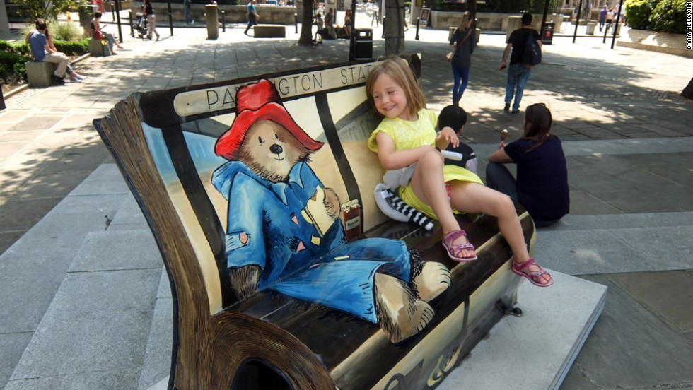 The marmalade sandwich-loving bear from Darkest Peru is celebrated in this bench on the south bank of London's Thames river.