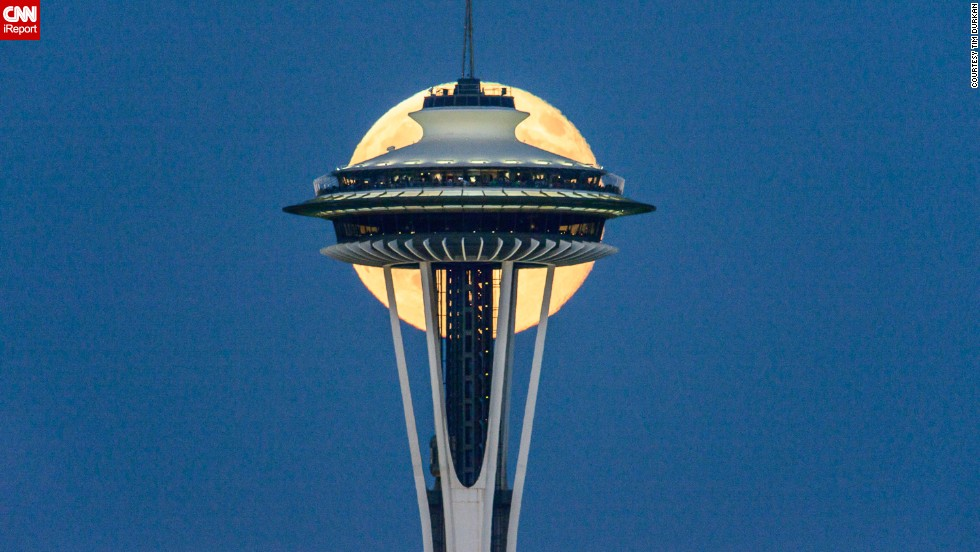"It took <a href=""http://ireport.cnn.com/docs/DOC-1152205"">Tim Durkan </a>several lonely hours to get the perfect shot of the supermoon over the weekend in Seattle."