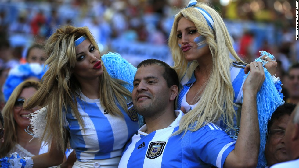 Argentina fans cheer at the Maracana Stadium before the match.