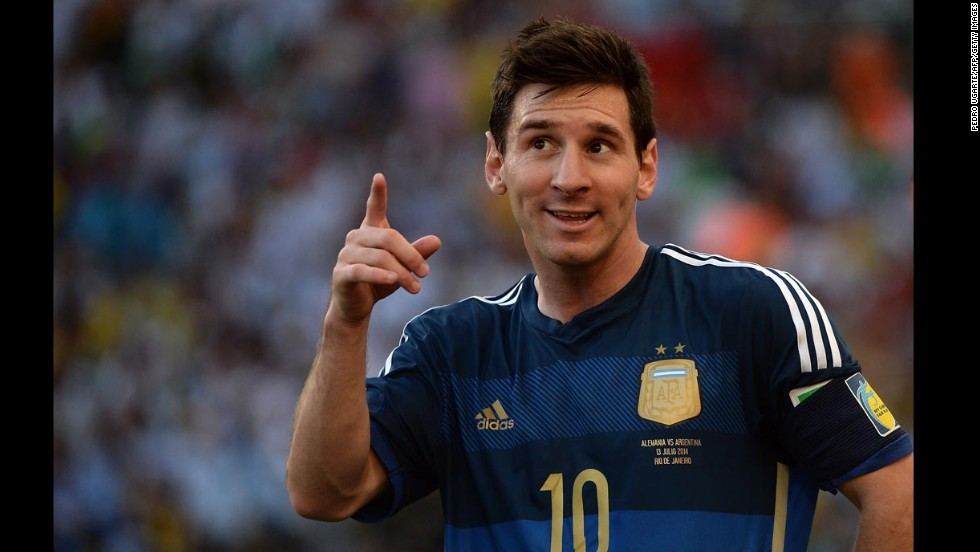 Messi, Argentina's star player and captain, reacts during the match.