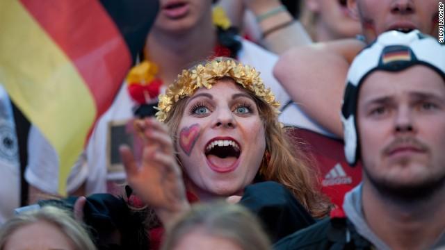 German soccer fans watch the Brazil World Cup final on Berlin's 'Fan Mile.'