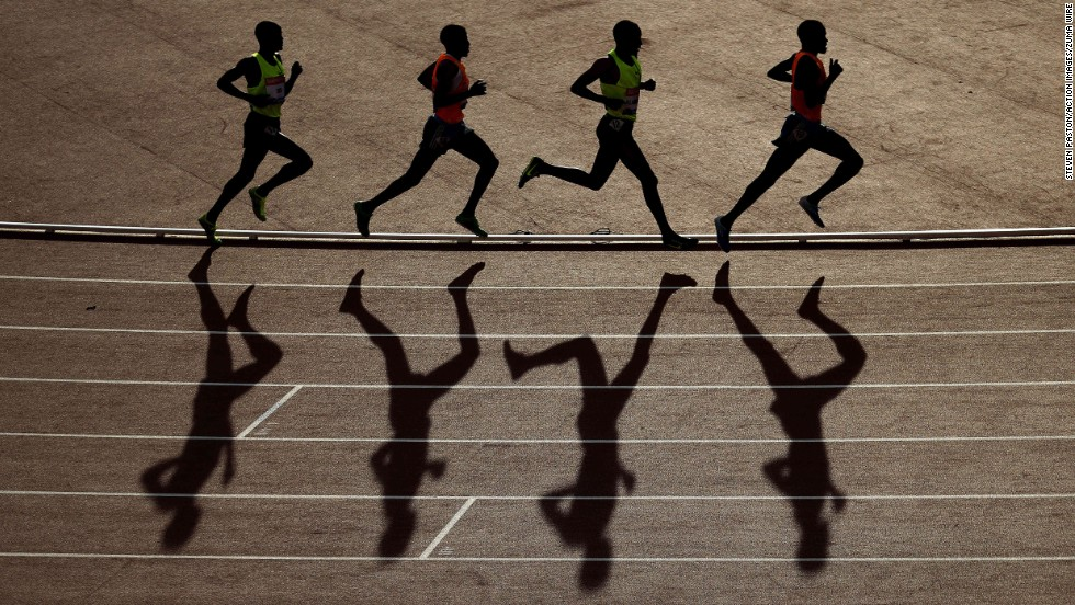Men run in the 5,000 meters Friday, July 11, at the IAAF Diamond League event in Glasgow, Scotland. Ethiopia's Hagos Gebrihwet won the final race.