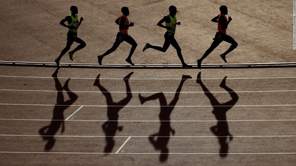 Men run in the 5,000 meters Friday, July 11, at the IAAF Diamond League event in Glasgow, Scotland. Ethiopia's Hagos Gebrihwet won the final race.