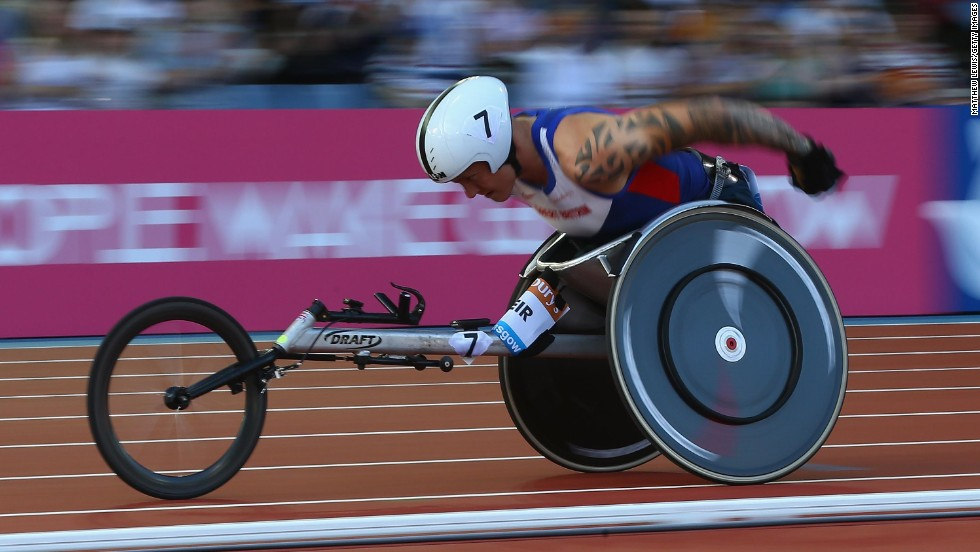 British Paralympic athlete David Weir competes in the 1,500 meters Friday, July 11, at the IAAF Diamond League event in Glasgow, Scotland. Weir won the race, edging Japan's Masayuki Higuchi.