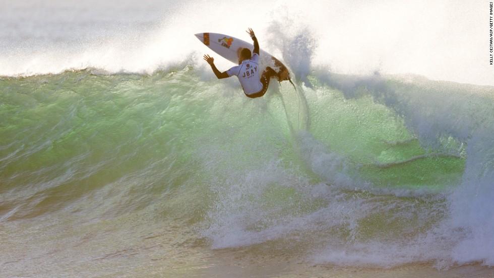 Sebastien Zietz surfs in the J-Bay Open on Thursday, July 10, in Jeffreys Bay, South Africa.