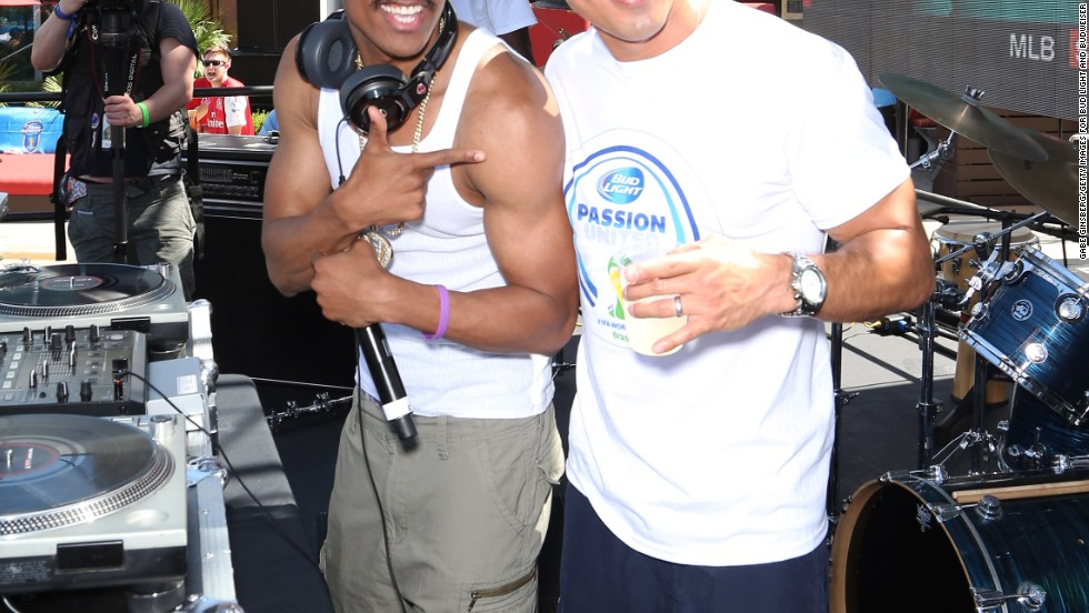 Nick Cannon and Mario Lopez buddy up at a World Cup Finals party in Las Vegas on July 13.