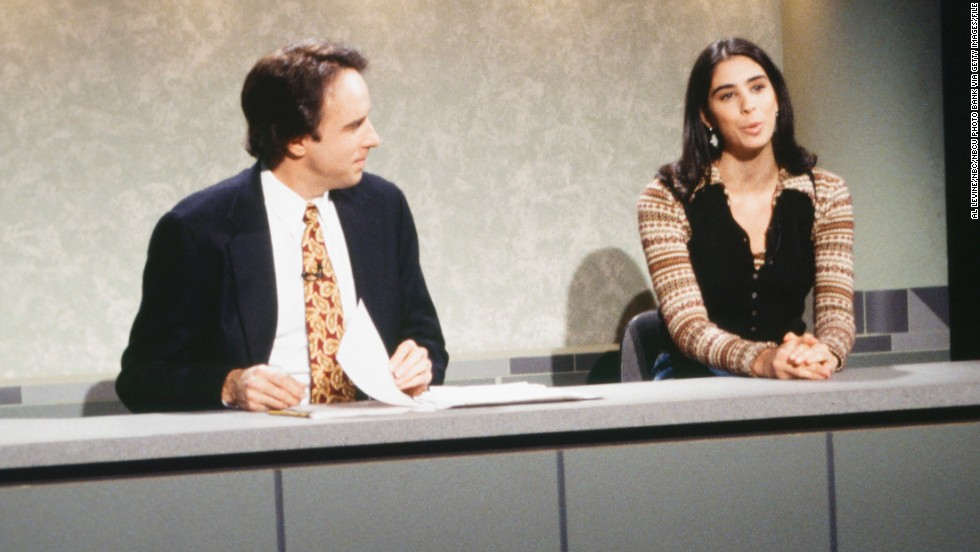 "Sarah Silverman was virtually a blip on ""SNL's"" radar. Seen here with Kevin Nealon on the ""SNL"" set in 1993, Silverman was gone by the start of the 1994-95 season. ""It wasn't like I did something wrong,"" the comedian told <a href=""http://www.huffingtonpost.com/2013/11/22/sarah-silverman-snl_n_4325427.html"" target=""_blank"">The Huffington Post in 2013</a>. ""I was that last year of the old guard, and they started anew. And by the way, I wrote not a single funny sketch, so that might have something to do with it, too."""