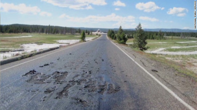 Road melts at Yellowstone National Park