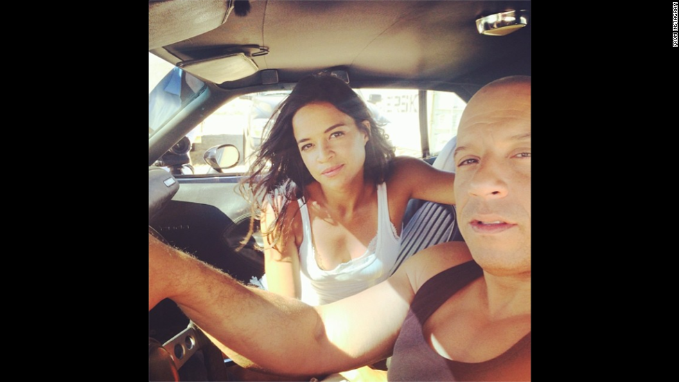 "Actress Michelle Rodriguez posted this photo of her and her ""Fast and Furious"" co-star Vin Diesel on Thursday, July 10. They've just finished shooting the seventh movie in the successful film franchise. ""Ride or Die through thick and thin 15 yrs later surreal to think we made it through such a tough painful production,"" <a href=""http://instagram.com/p/qSmofdCZut/"" target=""_blank"">she wrote</a> on her Instagram account."