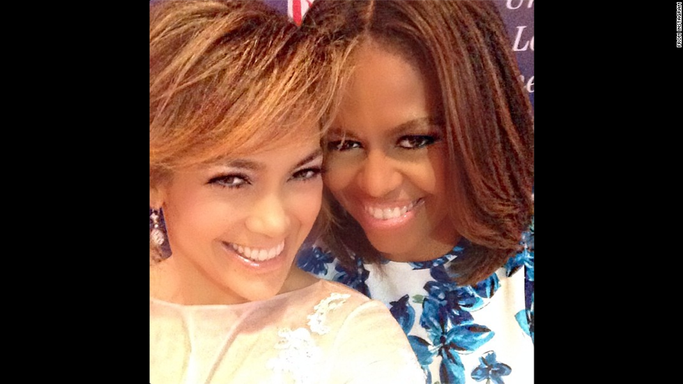 "Singer Jennifer Lopez uploaded this selfie with first lady Michelle Obama to <a href=""http://instagram.com/p/qR0aQsmuPp/"" target=""_blank"">her Instagram account</a> on Thursday, July 10. It came with this message: ""Me and my girl @flotus at #LULAC National convention for the empowerment of Latinos. #represent #keynotespeaker #introingthekeynotespeaker #dreambig"""