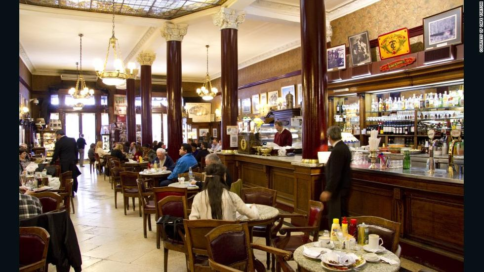 Opened in 1858 by a French immigrant, Cafe Tortoni in Buenos Aires has served its desserts to luminaries such as Albert Einstein and Hillary Clinton. No word if either wore a scrunchie to keep hair out of their cream cakes.