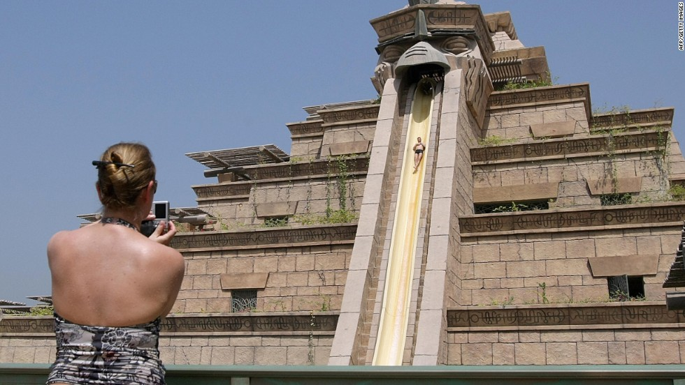 Dubai's  Aquaventure -- number eight on the water park list -- features Aquaconda is the world's first slide-within-a-slide.