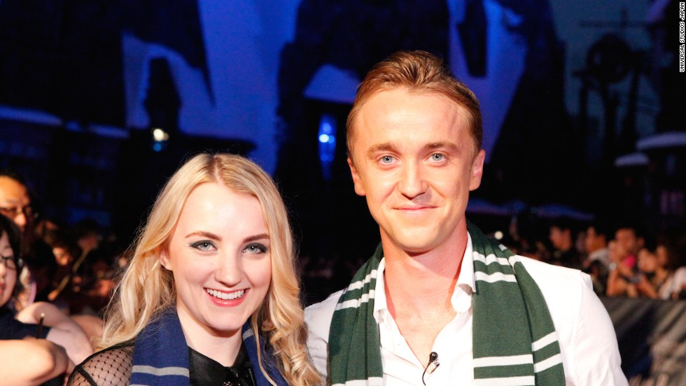 """Harry Potter"" stars Evanna Lynch (Luna Lovegood) and Tom Felton (Draco Malfoy) were on hand for the Wizarding World of Harry Potter opening ceremony in Osaka, Japan on July 15."