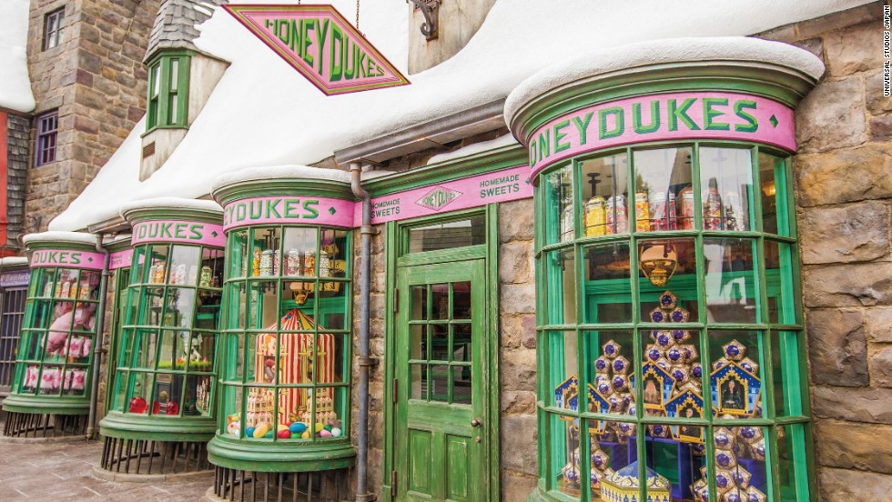 The Universal Studios Japan recreation of Hogsmeade includes a number of shops that appear in the books, including candy shop Honeydukes. Visitors can pick up some of Hogwarts students' favorite treats like Bertie Bott's Every-Flavour Beans, chocolate frogs and exploding bonbons.