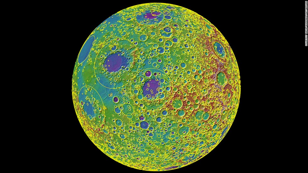 "<strong><em>NASA, 2010</strong></em><br /><br />Researchers from NASA's Goddard Space Flight Institute, Brown University, and MIT created the first map of the moon's surface to include all 5,185 of its large craters. It was created using over 3 billion measurements captured by NASA's Lunar Reconnaissance Orbiter over the course of one year. (Check out the <a href=""https://www.youtube.com/watch?v=WzvOR4utFng"" target=""_blank"">very-cool video projection</a> here.)"