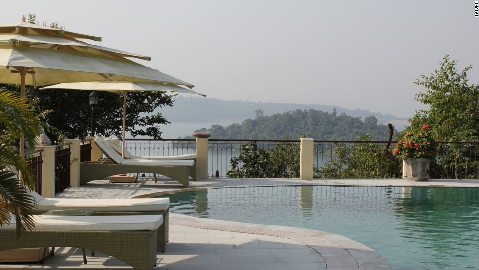 Basunti's swimming pool sits among papaya trees and bougainvillea flowers, and offers views over the lake.