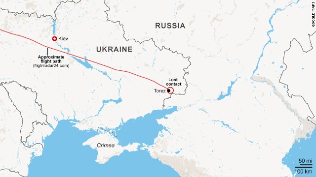 The map shows the approximate route of Malaysia Airlines Flight 17 over Ukraine.