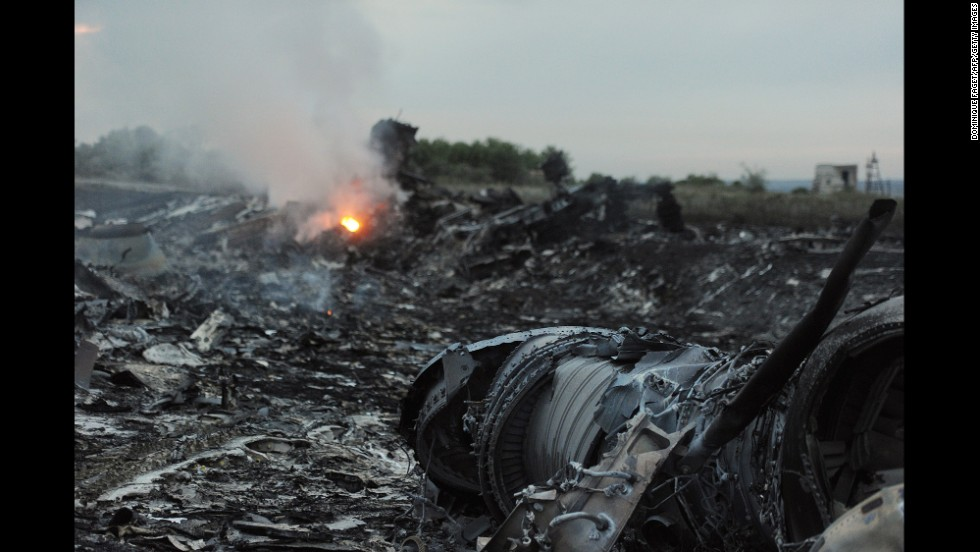 Debris from the crashed jet lies in a field in Ukraine.