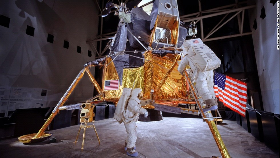The Apollo lunar module No. 2 is on display.