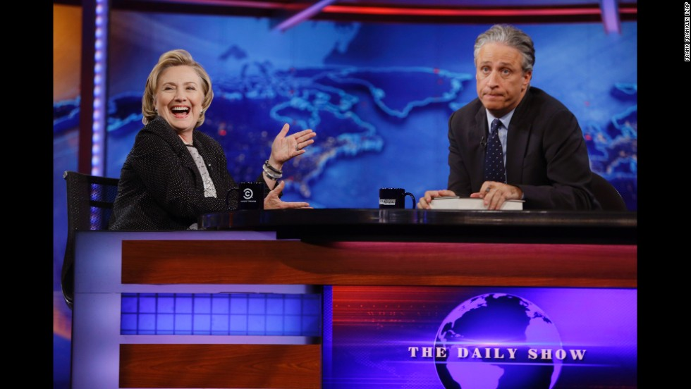 "Hillary Clinton reacts during <a href=""http://www.cnn.com/2014/07/16/politics/clinton-daily-show/index.html"" target=""_blank"">an interview with Jon Stewart</a> on ""The Daily Show"" in New York on Tuesday, July 15. When Stewart gave Clinton a career aptitude test, her answers alluded to a presidential bid."