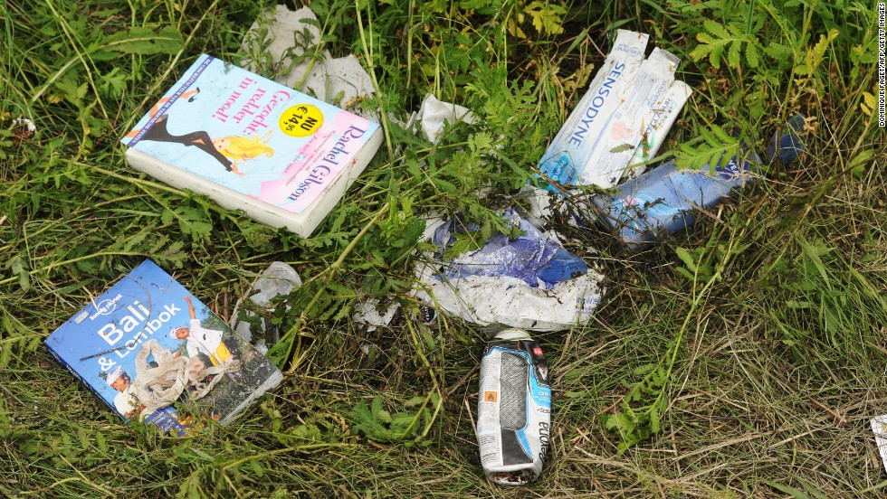 Belongings of passengers lie in the grass on July 18, 2014.