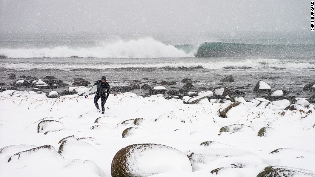 """I feel almost driven to document the Arctic and Arctic surfing,"" says Burkhard."
