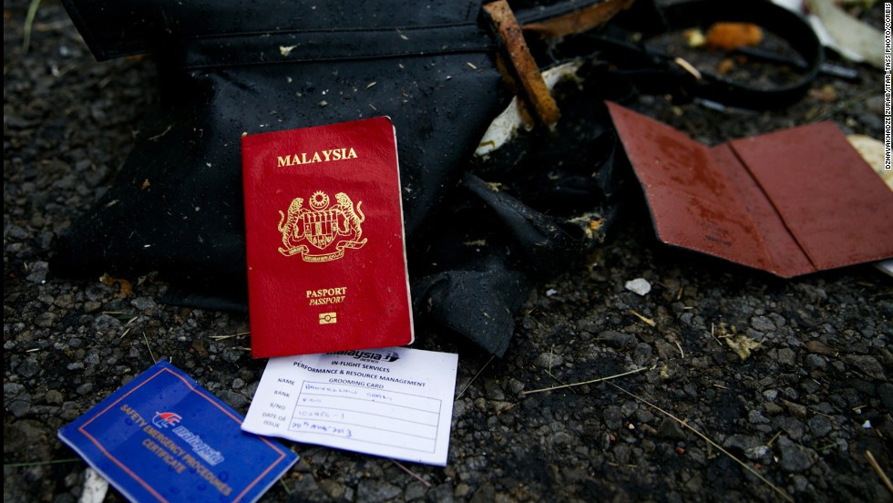Passports were scattered across the large field.