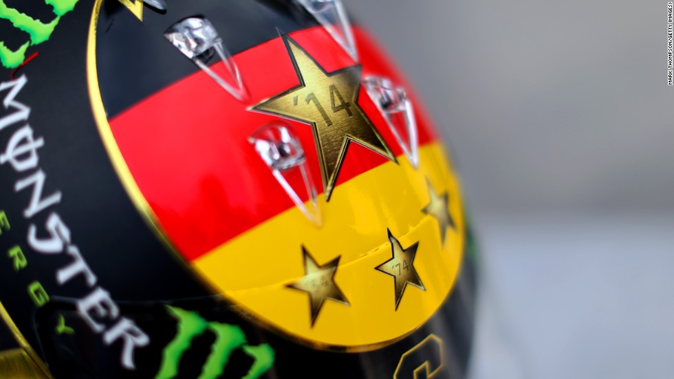 Rosberg wanted to wear markings on his helmet to celebrate Germany's World Cup football success but was prevented from doing so due to legal reasons.