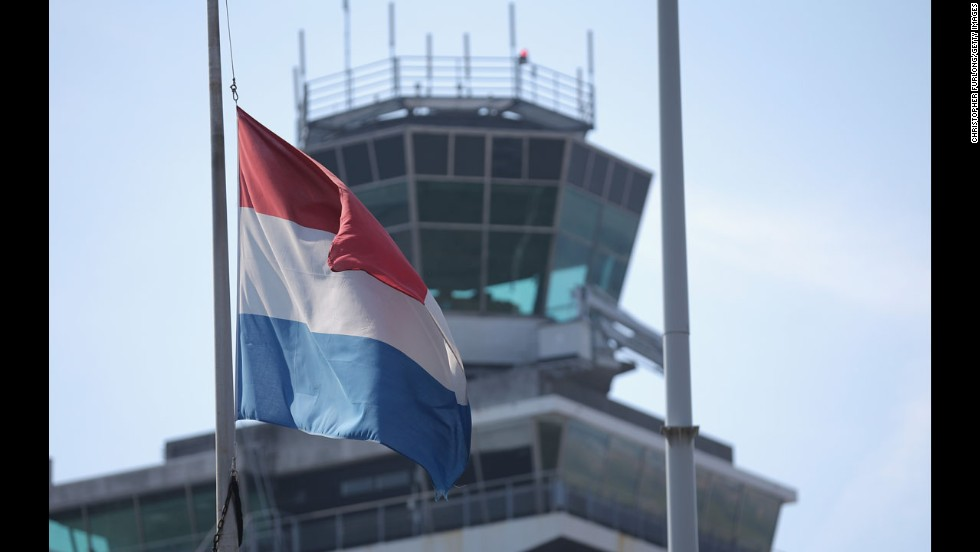 The Dutch flag flies at half-staff July 18 at Amsterdam's Schiphol Airport.