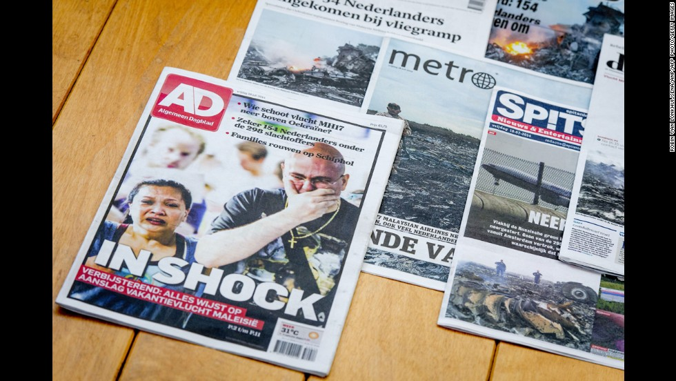 Dutch newspapers feature the crash of a Malaysian plane on Thursday, July 17.