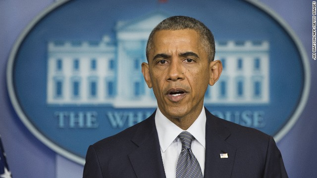 US President Barack Obama makes a statement on Ukraine from the Brady Press Briefing Room at the White House in Washington, DC, July 18, 2014.
