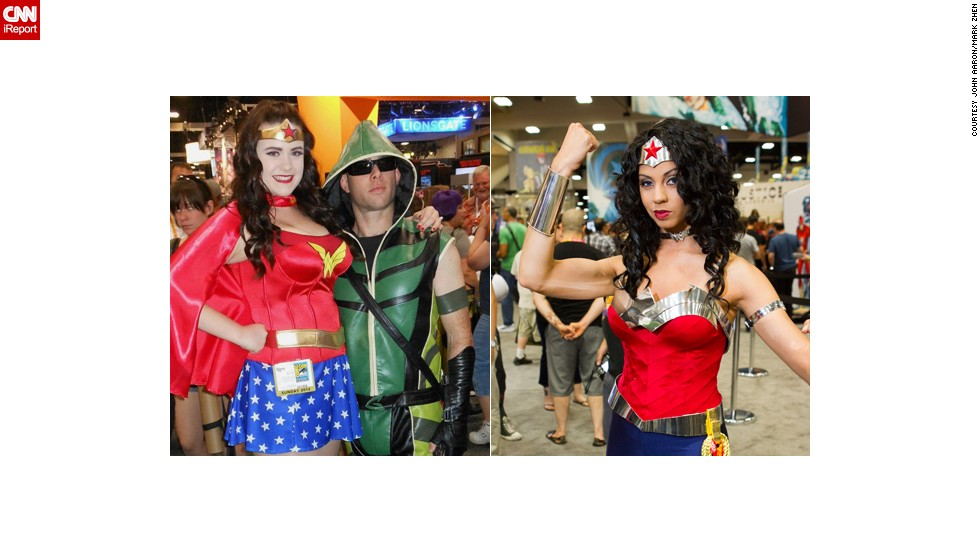 Wonder Woman will never lose her popularity in cosplay circles. Here's one accompanied by Green Arrow in 2012, and another from the same year.