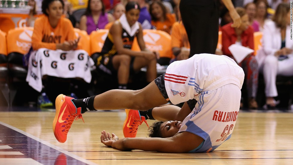 Angel McCoughtry of the Atlanta Dream flips over during the WNBA All-Star Game, which was played in Phoenix on Saturday, July 19.