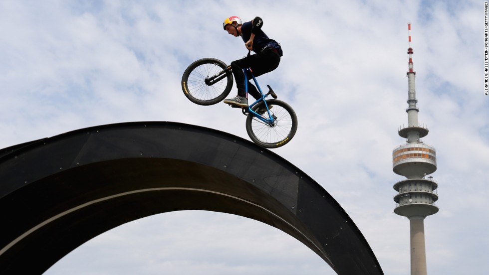 Thomas Genon competes in mountain bike slopestyle during the Swatch Prime Line event Sunday, July 20, at Munich Olympic Park in Munich, Germany.