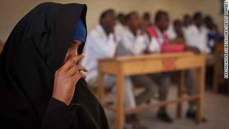 A discussion on female genital mutilation (FGM) takes place at Sheikh Nuur primary school in Hargeysa, Somalia, on February 19, 2014.