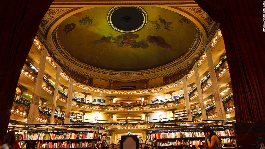 All bookstores are cool, but some bookstores are cooler than others. The stunning El Ateneo in Buenos Aires was once a theater. The theater boxes have been turned into reading spaces.