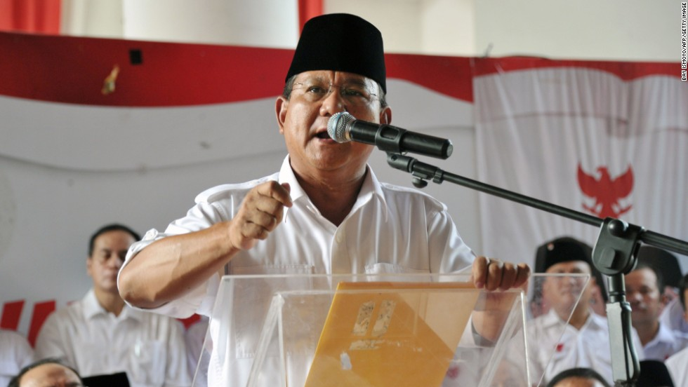 Indonesian presidential candidate Prabowo Subianto says he's withdrawing from the election process prior to the vote count announcement in Jakarta on July 22.