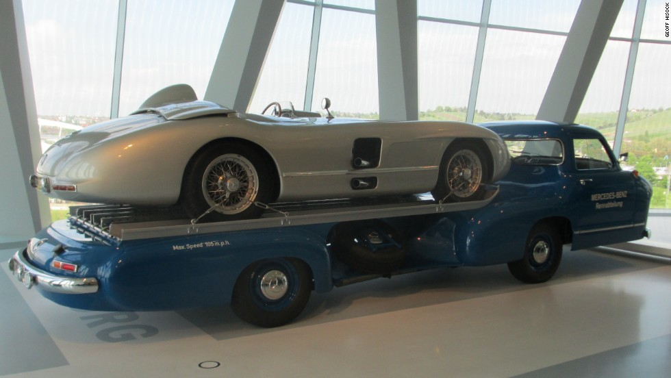 A 1955 Mercedes-Benz high-speed transporter -- built to carry the company's 300 SLR vehicle to the racetrack -- is on display at the Mercedes-Benz Museum, Stuttgart.