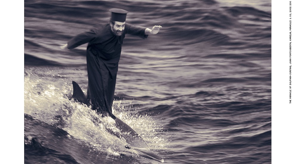 Fontcuberta satirizes religious faith in this picture, The Miracle of Dolphin Surfing, in which he depicts himself as a miracle-working monk.
