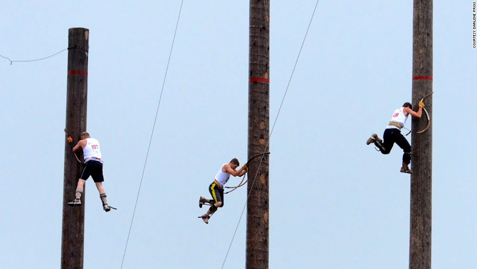 By far the most dangerous event in lumberjack sports, Verstegen says, is the speed climb. Athletes climb up 60- or 90-foot spar poles and descend back to the ground at lightning speed.