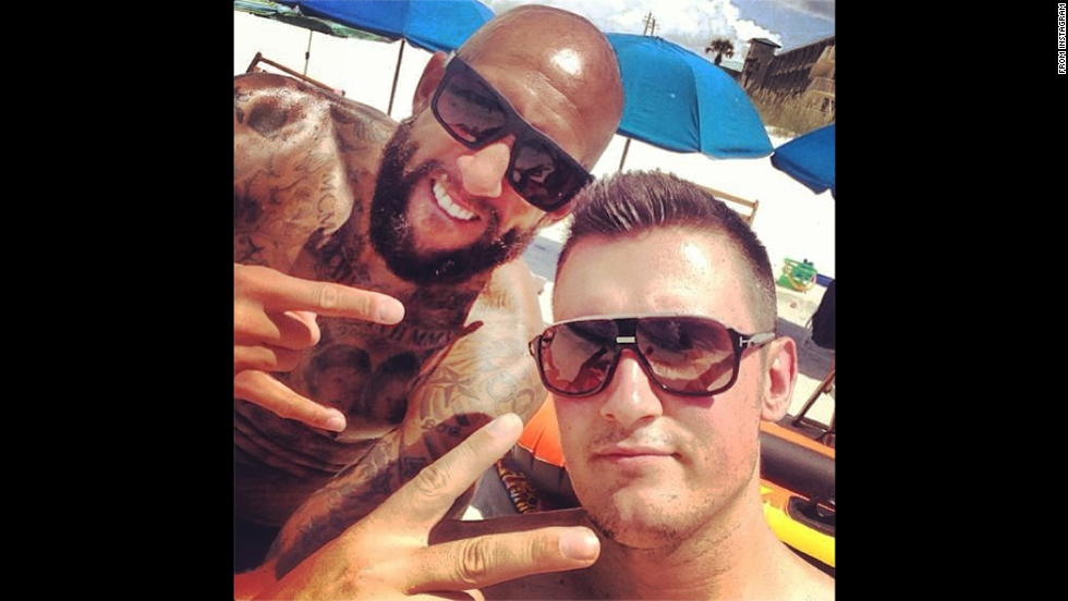 "Tim Howard, the starting goalkeeper for the U.S. national soccer team, relaxes with friend Tom Melody, right, while on vacation Wednesday, July 16. ""Great times, great friends!"" <a href=""http://instagram.com/p/qf7JXfS7iR/"" target=""_blank"">wrote Howard,</a> who earlier this month set a World Cup record for saves in a single game."
