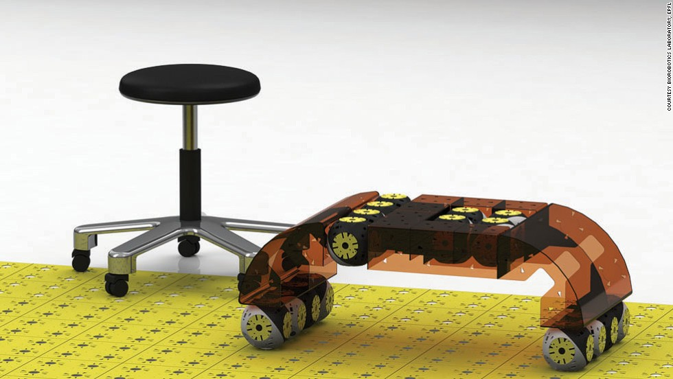 A rendering of a coffee table made from eight Roombots modules, and passive pieces.