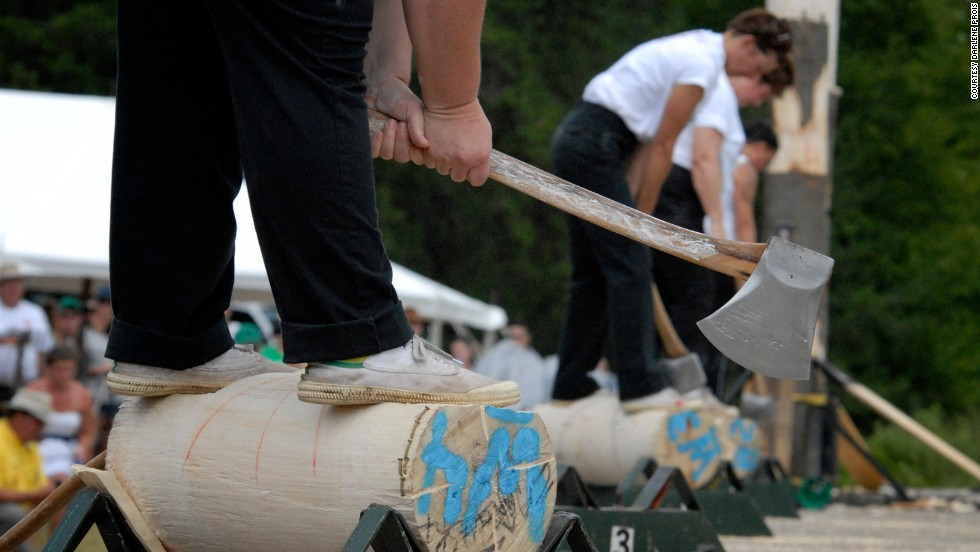 Before the existence of chainsaws, axes were used to cut felled trees into logs. In the underhand chop event, the competitor stands on top of a horizontally supported log driving ax blows straight down between their legs.