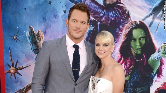 "Chris Pratt and Anna Faris make an eye-catching pair at the premiere of Pratt's ""Guardians of the Galaxy"" on July 21."