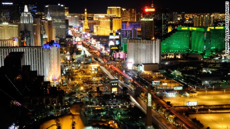 """In the shadow of the Las Vegas strip (pictured in this aerial shot), Tony took a look at """"the other Vegas. The Vegas people live in year-round. The Vegas I've always loved."""""""