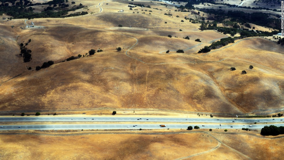 This picture taken from a helicopter shows a drought-affected area near Los Altos Hills, California, in July.