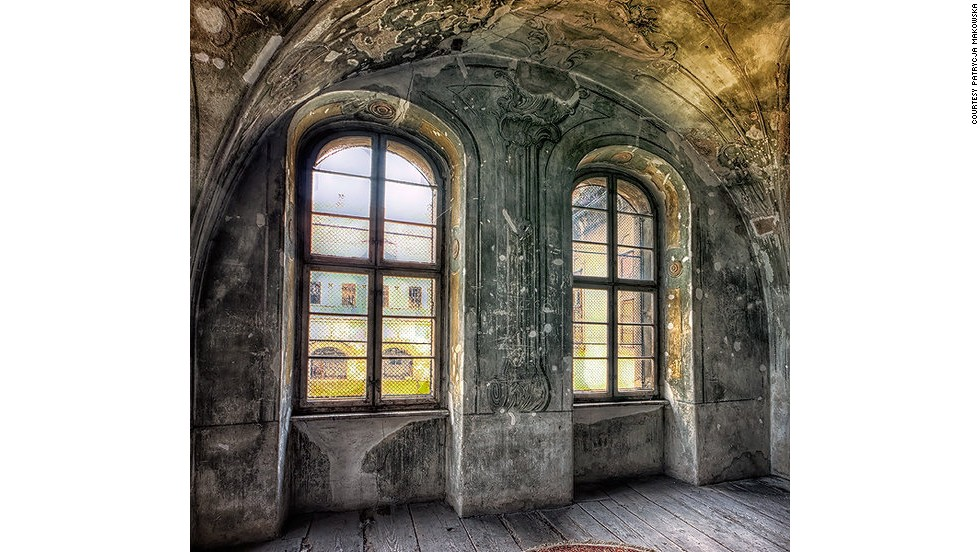 "This image of two windows under a vaulted ceiling veined with decay is enigmatically titled ""Ethereal Dreams."""