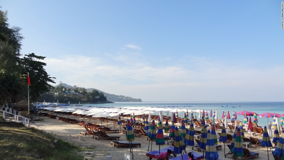 Phuket's Surin Beach, seen here in February of 2013, covered in beach loungers and umbrellas.
