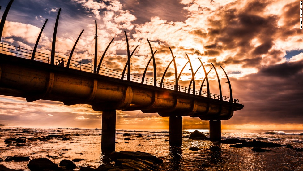 The distinctive whale bone structure of Umhlanga Pier won the South African National Award for Outstanding Civil Engineering Achievement.